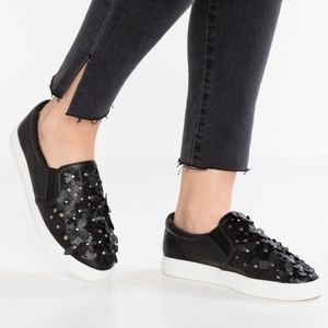 Shoes - Molly bracken black perforated flower slip on shoe